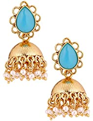 The Jewelbox 22K Gold Plated Turquoise Blue Stone Jhumki Earring For Women