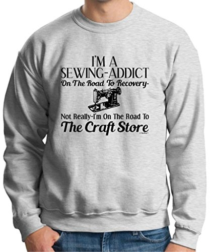 Sewing Addict On The Road To Recovery, Craft Store Crewneck Sweatshirt Medium Ash