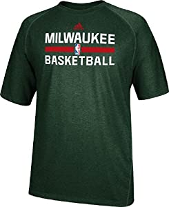 Milwaukee Bucks Heather Green Climalite Practice Short Sleeve Shirt by Adidas by adidas