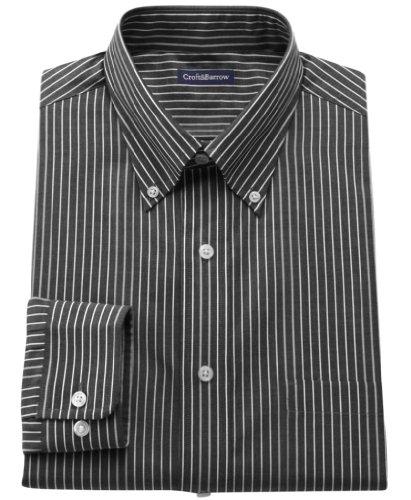 Croft & Barrow Mens Classic Fit Button Down Shirt 14 1/2-15 32/33 Black
