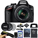 Nikon D3200 24.2 MP CMOS Digital SLR with 18-55mm f/3.5-5.6 AF-S DX VR NIKKOR Zoom Lens (Black) + I3ePro 16GB SDHC Card