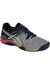 ASICS Men's Gel Resolution 6 Tennis Shoes Smoke/Silver/Black (9.5)