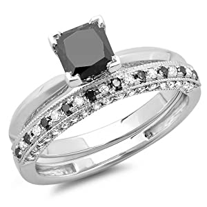 1.50 Carat (ctw) 10K White Gold Princess Cut Black & Round White Diamond Ladies Bridal Solitaire Engagement Ring With Matching Millgrain Wedding Band Set 1 1/2 CT (Size 6)