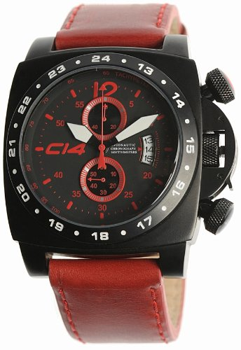 Carbon 14 Men's Chronograph Watch A1.2 with Red Leather Band