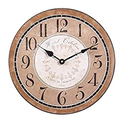 Distressed Paris Hotel Antique Inspired Tan Wall Clock