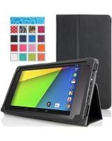MoKo Etui Google Nexus 7 2ème génération - Etui fin et pliable pour Tablette Google Nexus 2 génération Android 2013 4.3 de 7.0 pouces, NOIR (Avec couverture intelligente réveil/sommeil automatique )