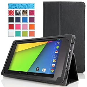 MoKo Google New Nexus 7 FHD 2nd Gen Case - Slim Folding Cover Case for Google Nexus 2 7.0 Inch 2013 Generation Android 4.3 Tablet, BLACK (with Smart Cover Auto Wake / Sleep Feature)