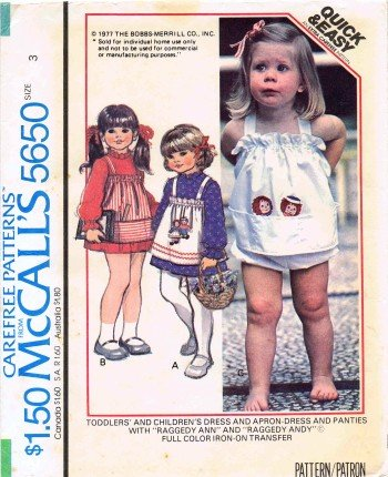 Mccall'S 5650 Sewing Pattern Toddler Girls Raggedy Ann & Andy Dress Apron-Dress Panties Size 3 front-134996