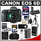 Canon EOS 6D Digital SLR Camera Body with EF 24-105mm L IS USM Lens with 64GB Card + Case + Battery & Charger + Battery Grip + Tripod + 3 UV/FLD/CPL Filters Kit