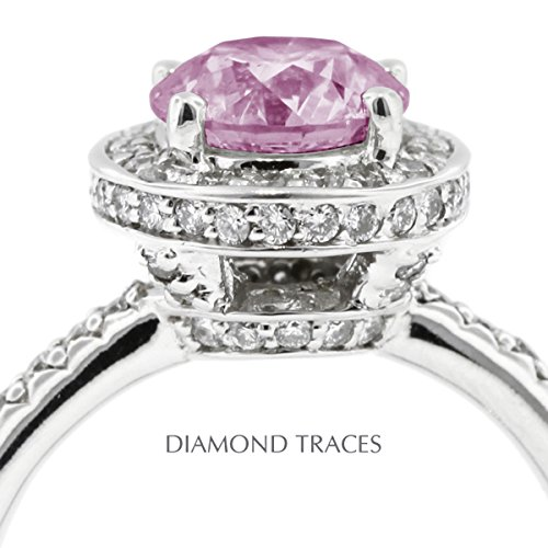 2.07 Carat Round Natural Diamond AGI Certified Purple-VS2 Very Good Cut 14k White Gold 4-Prong Setting Halo Engagement Ring