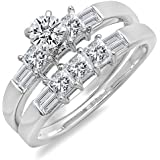 1.50 Carat (ctw) 14k White Gold Round, Princess & Baguette Diamond Ladies Bridal Ring Band Set 1 1/2 CT