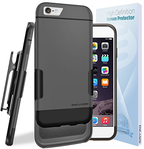"iPhone 6 Slim CASE & CLIP Combo, New **Executive Series** Slider Hard Shell (easy-grip surface) + HD Screen Protector & Belt Clip Holster [Hybrid, dual-layer cover w/ soft felt inner lining] *Encased® LIFETIME Replacement Warranty* (Apple iPhone 6 4.7"") [Gray/Black]"