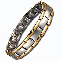 Mens Titanium Magnetic Bracelet In Velvet Gift Box Ultra Lightweight Titanium Very Stylish With Strong 3000g Magnets Free Link Removal Tool by Willis Judd