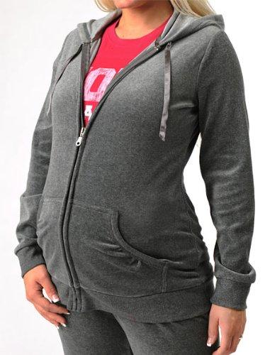 Motherhood Maternity: Long Sleeve Velour Hooded Maternity Jacket