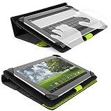 SOHO Portfolio Stand - Nylon Detachable Flip Cover Case (LIME NEON GREEN) for Dell Latitude 10 Tablet Touch 10.1 inch + Black Handsfree Earphone /Microphone Headphones