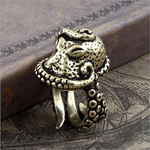 Vintage Bronze Octopus Sea Monster Squid Kraken Punk Antique Ring Retro
