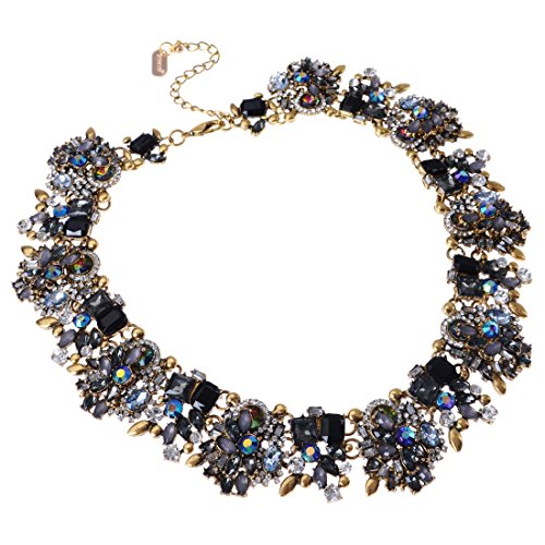 Vintage-Gold-Tone-Chain-Multi-Color-Glass-Crystal-Charm-Choker-Statement-Bib-Necklace