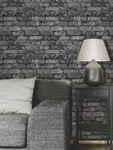 papier peint effet de brique gris noir bricolage. Black Bedroom Furniture Sets. Home Design Ideas
