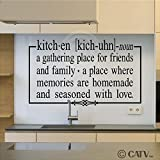 "Kitchen a gathering place for friends and family 12.5"" x 21"" vinyl lettering wall sayings home décor art sticker decal quote word"