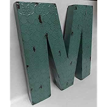 "Fun 20"" x 20"" x 2"" All Metal 3-D Industrial BLUE Metal Wall LETTER "" M "" Wall Art Decor"