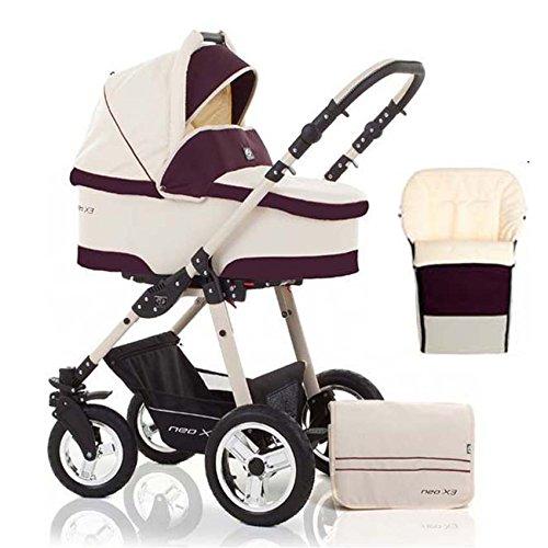 2 in 1 Kinderwagen Neo X3 - Kinderwagen + Sportwagen + Fußsack + GRATIS ZUBEHÖR in Farbe Creme-Bordeaux