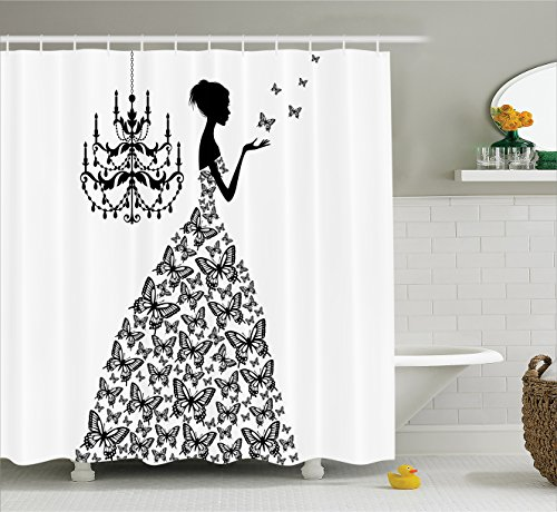 Ambesonne Extra Long Fabric Shower Curtain, Bathroom Accessories Collection, Butterflies Chandelier Princess Wedding Gown , 84 Inch Long, Black and White (Chandelier Shower Curtain compare prices)