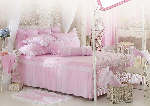 Joybuy Pink Bedding Sets,Rustic Girls Duvet Cover Set,Pillowcase & Sheet Sets ,Rural Style Princess Bedding Sets .4Pcs Bedding Sets,Perfect Match