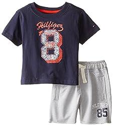 Tommy Hilfiger Baby-Boys Newborn Big 8 Tee Set, Swim Navy, 6 Months