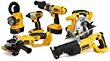 DEWALT DC6PAKIA  XRP 18-Volt Cordless 6-Tool Combo Kit, includes Hammer Drill, Circular Saw, Reciprocating Saw, Impact Driver, Cut-Off Tool, Flexible Floodlight, 2 Batteries, Charger, and Bag
