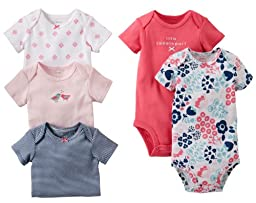 Carter\'s Baby Girls\' 5 Pack Bodysuits (Baby) - Assorted Solids - Multi - Pink - 6 Months