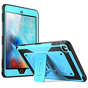 iPad Mini 4 Case, [Heave Duty] i-Blason Apple iPad Mini 4 2015 Armorbox [Dual Layer] Hybrid Full-body Protective Kickstand Case with Front Cover and Built-in Screen Protector / Bumpers (Blue)