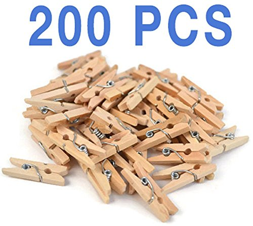 Mini, Natural Clothespins, Wood, 200 Per Pack, Wooden Pins for Scrapbooking Wood Crafts