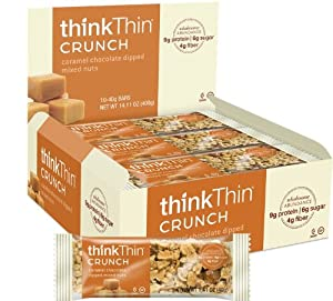 Crunch Bar- Caramel Chocolate Dipped Mixed Nuts- Box Think Thin 10 Bars 1 Box