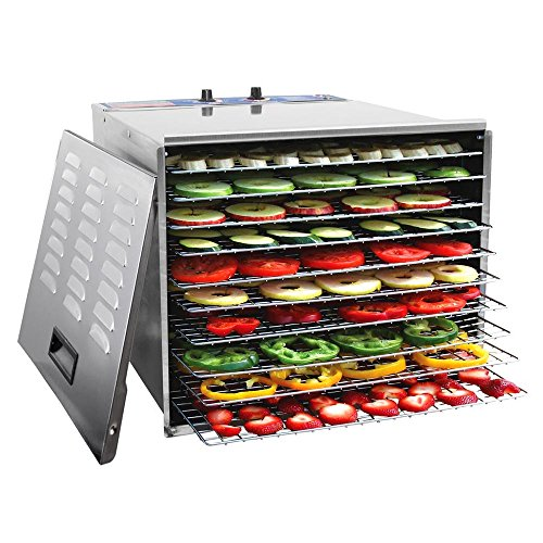 WYZworks 1200W Stainless Steel Food Dehydrator with 10 Trays and Temperature Control (Flower Dehydrator compare prices)