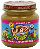 Earth&#8217;s Best Organic 2nd Pears &#038; Raspberries 4 Ounce Jars (Pack of 12)