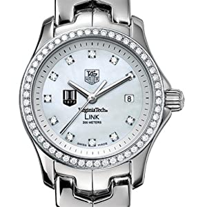 Virginia Tech TAG Heuer Watch - Women's Link Watch with Diamond Bezel