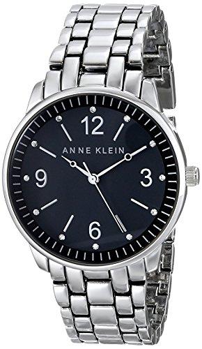 Anne Klein Women'S Ak/1717Bksv Swarovski Crystal Accented Black Dial Silver-Tone Bracelet Watch