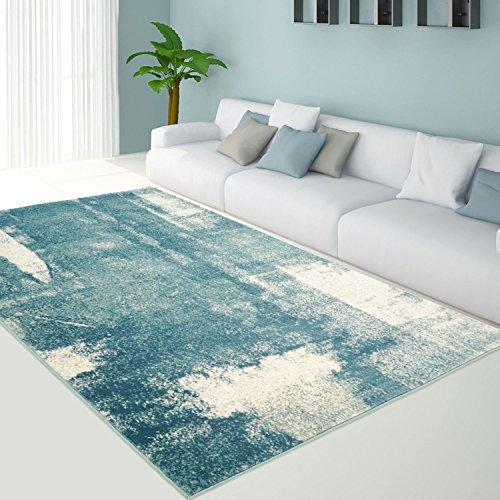 teppich modern designer wohnzimmer impression vintage pastel blau grau neu gr e in cm 120 x. Black Bedroom Furniture Sets. Home Design Ideas
