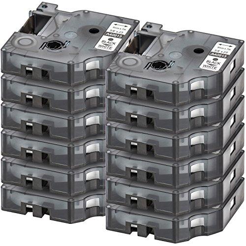 12x-compatible-dymo-d1-40913-casetta-a-nastro-nero-su-bianco-black-on-white-9mm-x-7m-suitable-for-dy