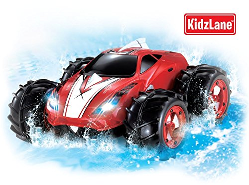 powerful amphibious remote control car drives on land water 200 ft control range 360 degree spins led headlights red car