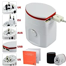 buy First2Savvv White Luxury Universal Worldwide Travel Power Adaptor And Usb Charger - African / European / American / Australian / Holiday Plug Adapter - Covers Over 150 Countries For Dell Xps 10 Windows 8 Tablet With Keyboard Dock