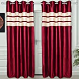"Story@Home Eyelet Fancy Polyester 2 Pc COMBO Ringtop Eyelet Designer Door Curtains,  7 ft  46 "" X 84 "" Maroon"