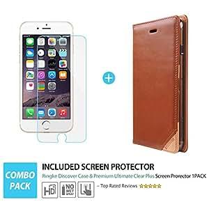 iPhone 6S Plus / 6 Plus Case - Ringke DISCOVER iPhone 6S Plus / 6 Plus Case [Free HD Film][ORANGE] Premium Genuine Leather Standing View Diary Case Flip Cover Wallet Case for Apple iPhone 6S Plus / 6 Plus