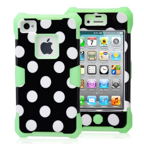 Magicsky Plastic + Silicone Hybrid Black Polka Dot Pattern Active Glow Case For Apple Iphone 4 4S 4G - 1 Pack - Retail Packaging - Green/Black