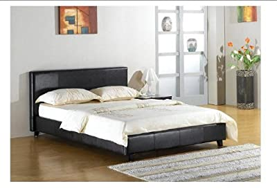 Black 4ft Small Double faux leather bed frame