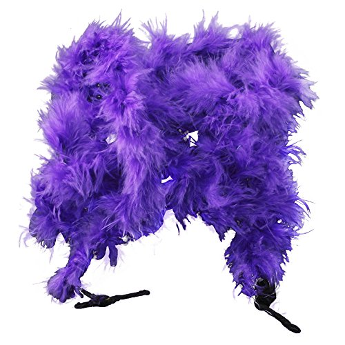 eFuture(TM) Dark Purple Feather Boa for Tea Party Dress up with Keyring