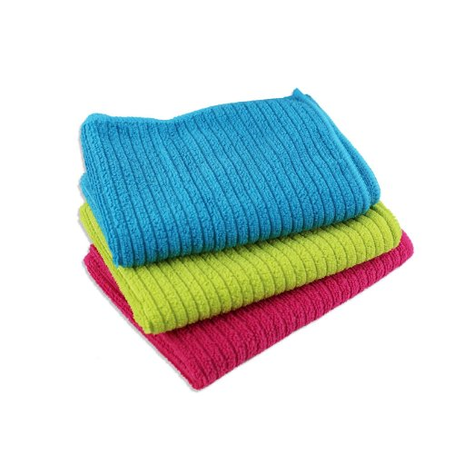"""Set Of 3 Microfiber Cleaning Cloths - 23"""" X 16"""" Multi-Purpose Towels front-601404"""