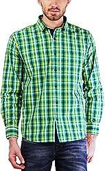 PRIKNIT Men's Cotton Shirt (AF-S1-GREENC, Green Checks, 38)
