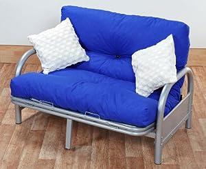 4ft6 tri fold silver futon sofa bed frame with reflex foam flake futon