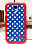 Blue and White Polka Dot Pattern Hard Case with Red Trim and Anchor Design for Samsung Galaxy S4 IV i9500 (Android)